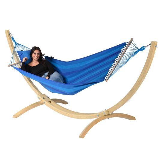 Hamaca con Soporte Individual Wood & Relax Blue