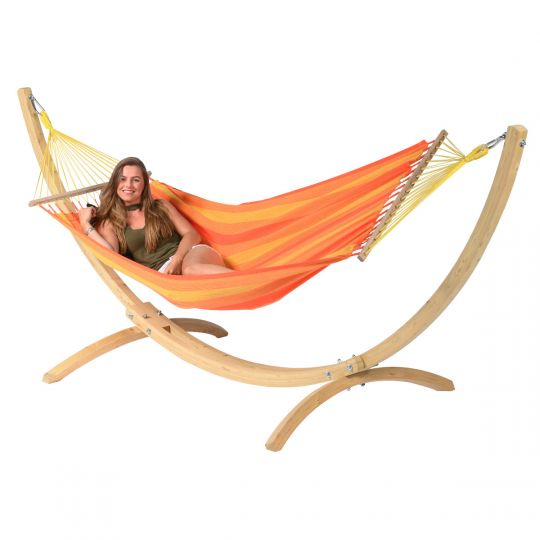 Hamaca con Soporte Individual Wood & Relax Orange