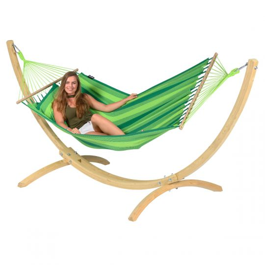 Hamaca con Soporte Individual Wood & Relax Green